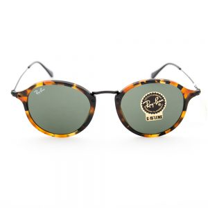 Ray Ban 2447 Round Fleck Spotted Black Havana Crystal Green (2447 1157)