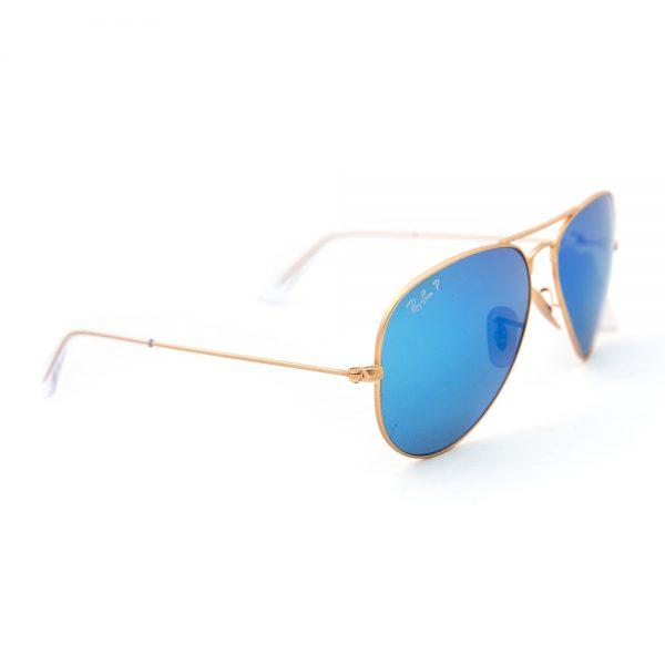 Ray Ban 3025 Aviator Polarised Matte Gold Blue Crystal Blue Mirror (3025 112/4L)