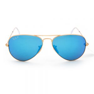 Ray Ban 3025 Aviator Polarised Matte Gold Blue Crystal Blue Mirror (3025 112/4L)