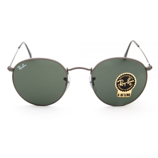 Ray Ban 3447 Round Flash Matte Gunmetal Crystal Green (3447 029)